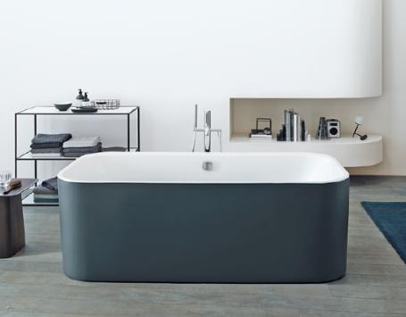Duravit D2 Plus collection of bathtubs-Graphite Super Matt finish shown