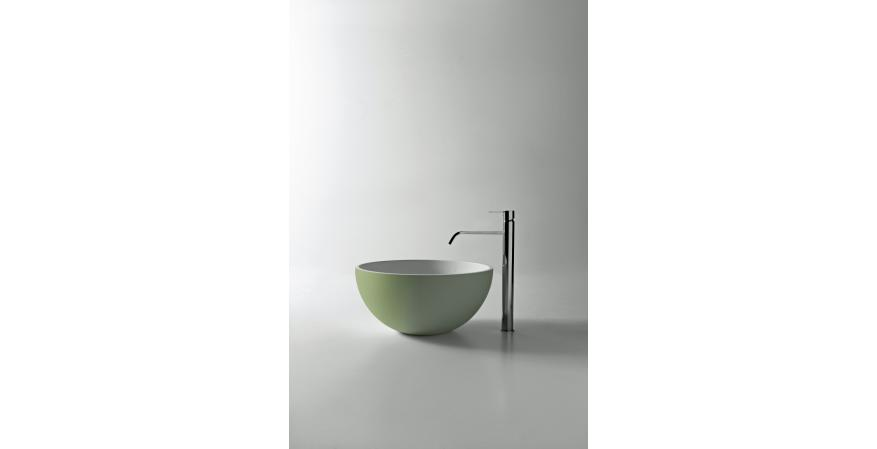 Flumood, a new collection of top-mount solid surfacing sink in light green