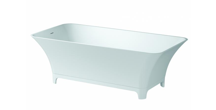 From Aquabrass, Bali puts a modern spin on the classic footed tub. Made of stone resin with a durable gloss finish, this stylish soaker measures 65-1/4 inches by 32-5/8 inches by 22-1/16 inches and has a 68-gallon capacity