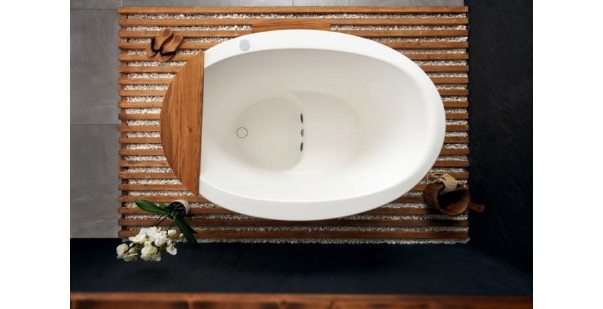 Aquatica true ofuro tranquility Heated Solid Surface Japanese bathtub top view
