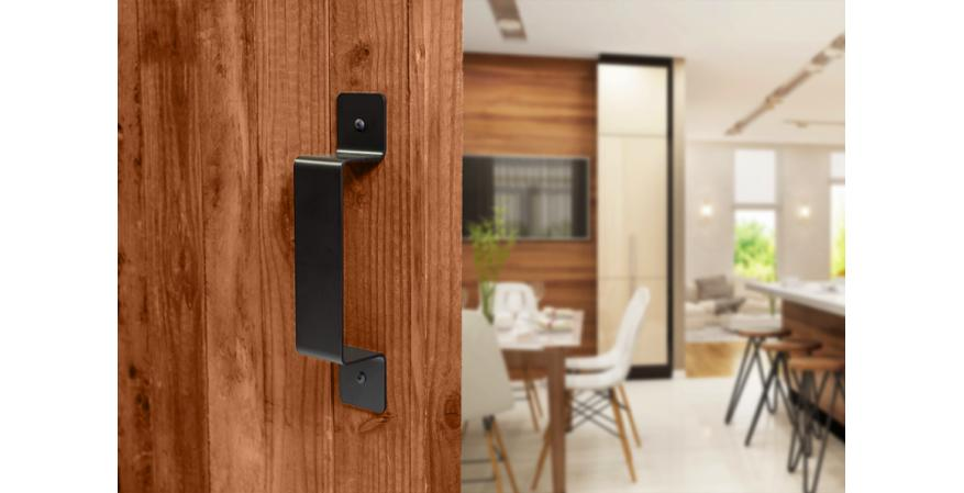 Federal Brace Black Rustic flat Door Handle on Wood Door
