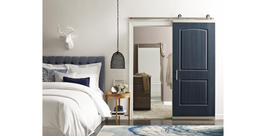 Jeld-Wen DesignGlide barn door hardware Denim Bedroom door open