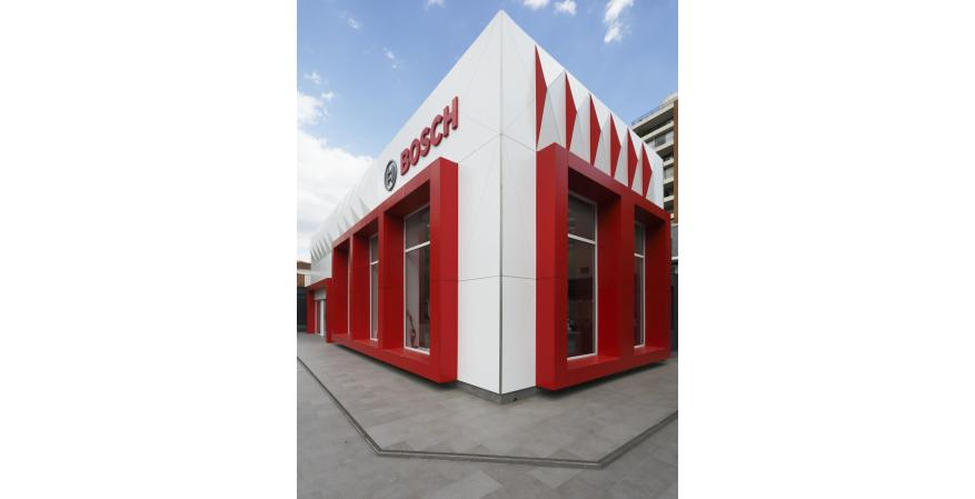 Tricoya on exterior facade of Bosch store