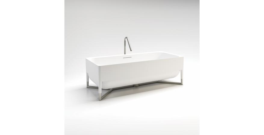 Stainless steel feet support Hastings Tile & Bath's Tubes tub, adding interest and a feeling of levity. Italian-made of white cast resin with a matte finish, the freestanding tub has a center drain and measures almost 71 inches long, 3-1/2 inches wide and 22-2/5 inches tall.