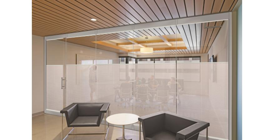 Nanawall Shades in a commercial space