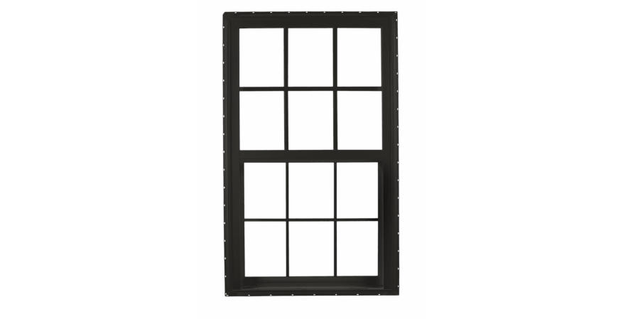 ply gem brickmould vinyl window in black