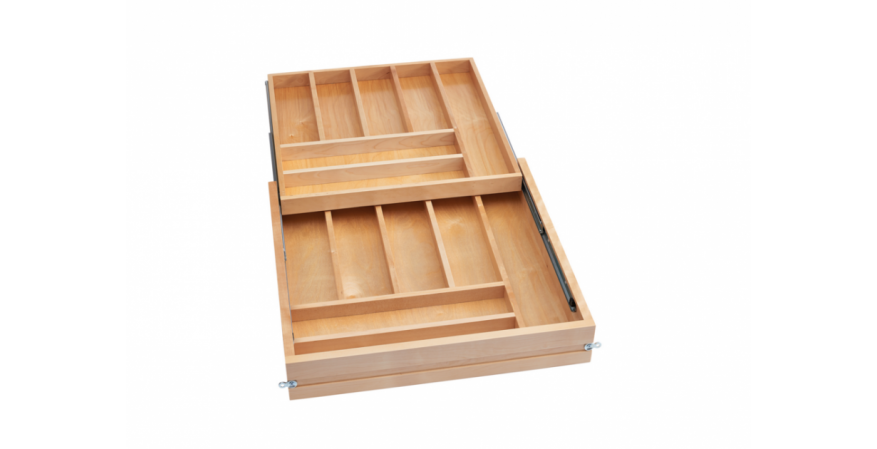 Designed for frameless kitchen drawers with ¾-inch side panels, this new line of pre-assembled drawer boxes offers ample storage for kitchen utensils and flatware. The products feature recessed slides that maximize storage and come in sizes that fit 15-, 18-, 21-, and 24-inch cabinets. The pre-assembled drawer boxes are easy to install, requiring only a drawer front. They also can be ordered with Blumotion soft-close slides.