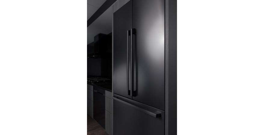 Part of the brand's newly launched Chef Collection line of premium appliances, the fully integrated built-in refrigerator is the industry's first 42-inch built-in four-door flex model with a FlexZone compartment that transitions from fridge to freezer at the touch of a button.