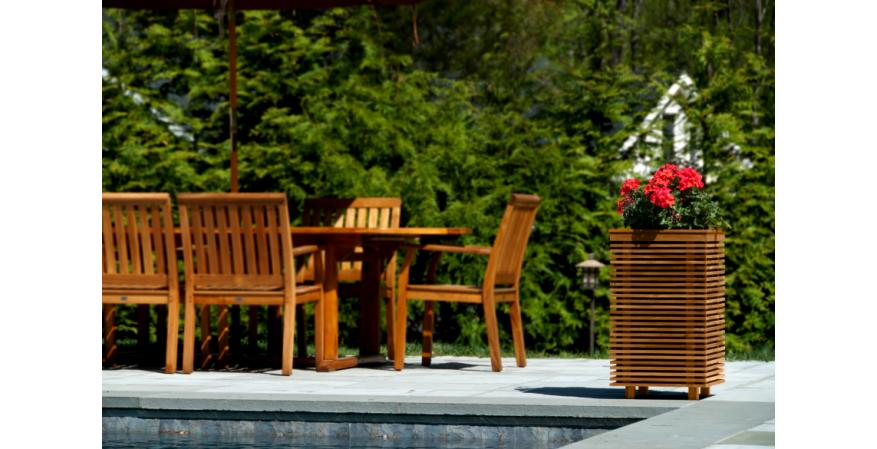 outdoor planters with a built-in sound system on an outdoor patio