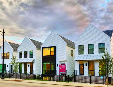 Basecamp home development in Chicago with White James hardie siding
