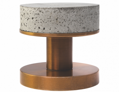 Designer Doorware Bullet and Stone Concrete Niki Knob weathered brass