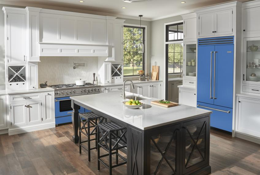 Blue Star Collaboration with Eric Cohler Savor the Seasons Appliances Refrigerator in BlueFish