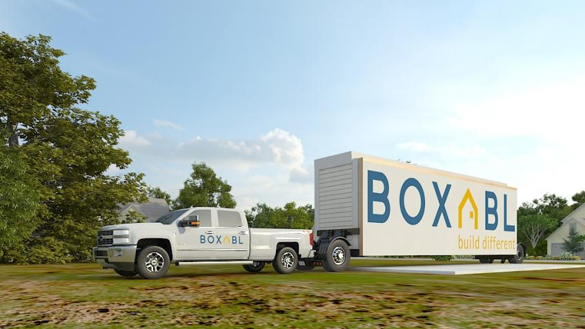 Boxabl units can be pulled by a modern pickup truck