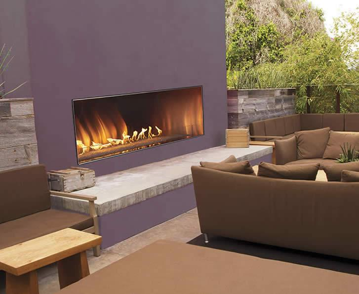 The features of Empire's Outdoor Linear Fireplace—the stainless steel construction, an integrated LED lighting system, a gas burner beneath a large bed of clear-frost crushed glass—make it perfect for a patio party. An addition to Empire's Carol Rose Coastal Collection, it comes in a 55,000 Btu, 48-inch model and a 60-inch model rated at 65,000 Btu. The flames shoot from the fireplace's bed of glass, which is illuminated from beneath with multicolor pre-programmed LED lighting.