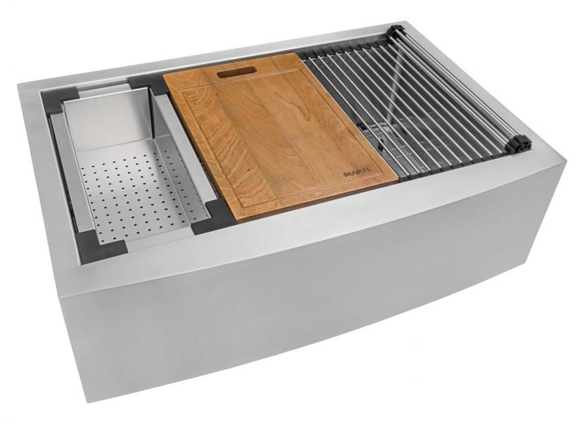Ruvati Verona Apron Front Workstration Stainless Sink with cutting board