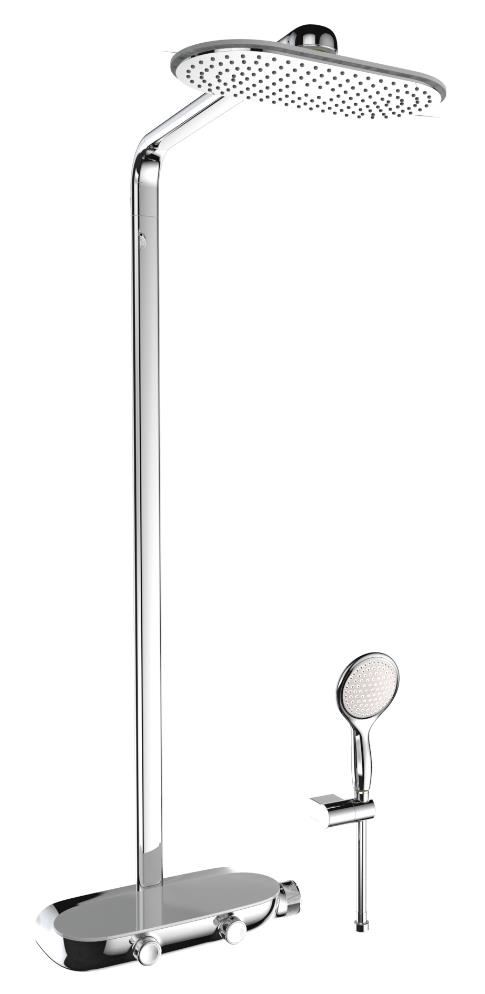 Faucet manufacturer Grohe has introduced the RainShower SmartControl unit with a double-button design that allows users to control all desired shower settings.