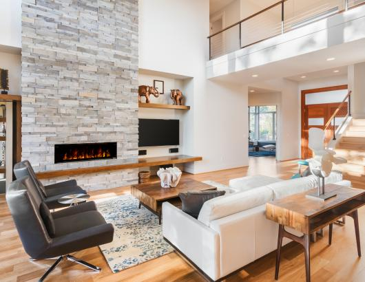 Modern living room design with fireplace