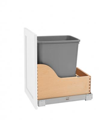 The Single 35-quart Waste Container Kit is intended for vanity and custom furniture applications with reduced depths. It features a dovetail maple drawer box, rear receptacle for storing waste bags, and heavy-duty 18-inch concealed Blum runners. The polymer waste container and door mounting brackets are included.