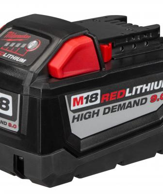 Milwaukee's M18 Redlithium High Demand 9.0 battery pack will completely shatter cordless expectations, the company says, delivering up to five times more runtime and 35 percent more power than standard lithium-ion batteries while operating 60 percent cooler. Delivering more sustained power and runtime for applications such as high-demand drilling, chipping, cutting, and grinding, the battery also should deliver more work per charge and more work over the life of the pack.