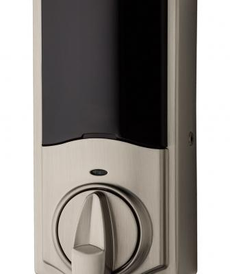 """Designed for the retrofit market, Kevo Convert turns an existing deadbolt into a smart lock. The unit replaces the interior side of the existing deadbolt. Once installed, homeowners may control their lock with a smartphone or send """"ekeys"""" to visitors."""