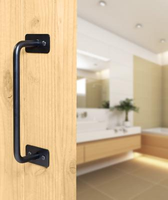 Black-colored pull from Federal Brace on a door