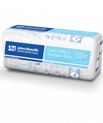 Johns Manville Cavity SHIELD Insulation Angled Packaging
