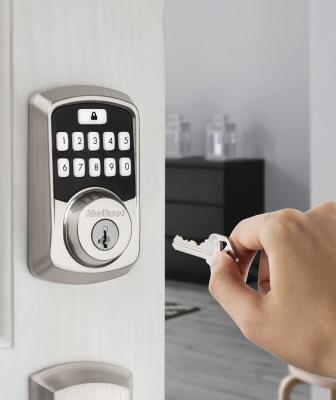Kwikset Aura Affordable Smart Lock Exterior With Hand Key Satin Nickel