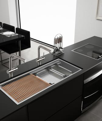 Ruvati Roma workstation sink black kitchen