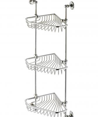 This three-tier corner basket offers easy access to bath essentials. Each unit features a hand-bent, polished frame that is soldered together. Available finishes include polished brass, chrome, and nickel. You may also customize the basket to any height.