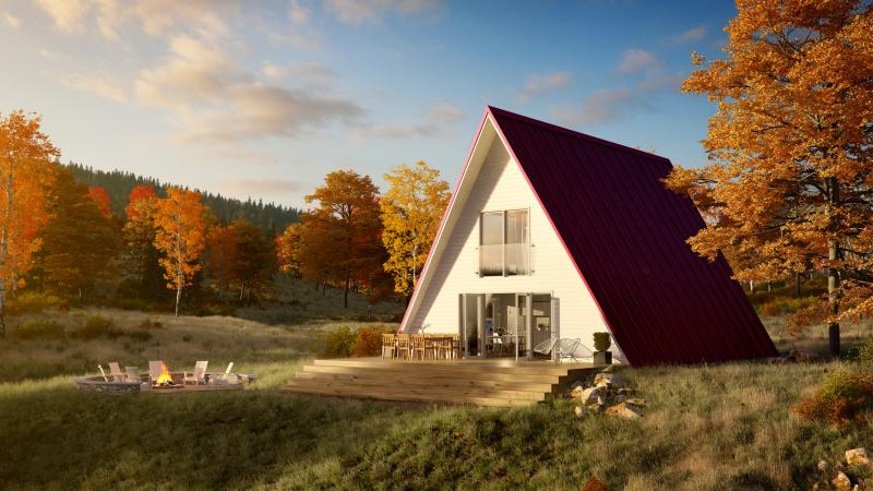 Avrame A-Frame Housing Kits Red Roof sunset angled shot