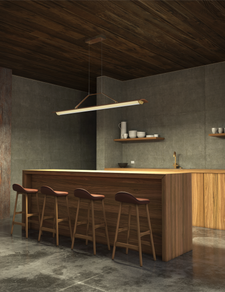 Cerno Group Penna Collection Linear Pendant Context Kitchen