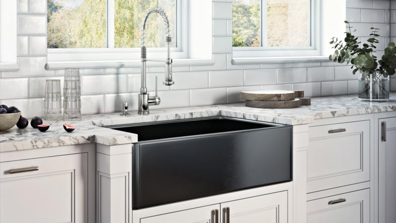 Ruvati Fiamma Farmhouse SInk black Installation white kitchen