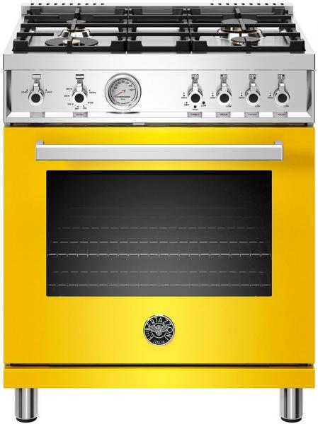 2 Bertazzoni professional 304 freestanding gas range yellow