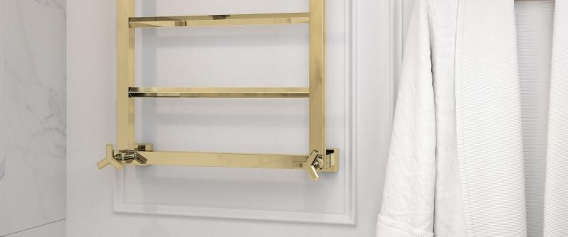3 THG Towel Warmers contemporary square brass finish