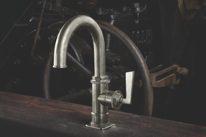 California Faucets Steampunk Bay Single hole with Lever Handle Burnished Nickel