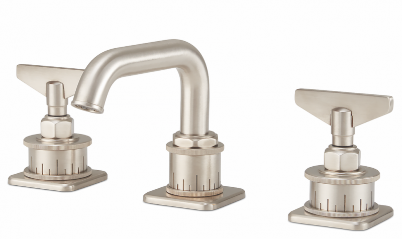 California Faucets Steampunk Bay widespread low spout Blade Handles Satin Nickel