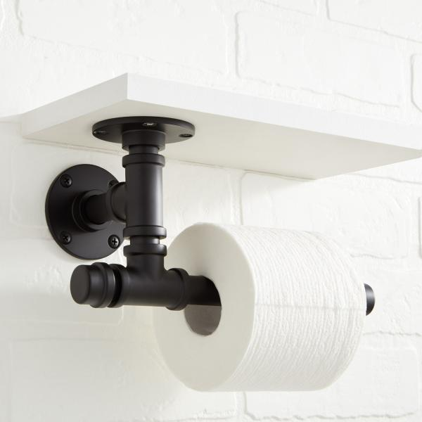 7 Signature Hardware Edison toilet paper holder matte black