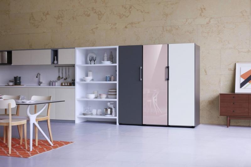 Samsung Home Appliances Prism Program BeSpoke Fridge kitchen black pink white units