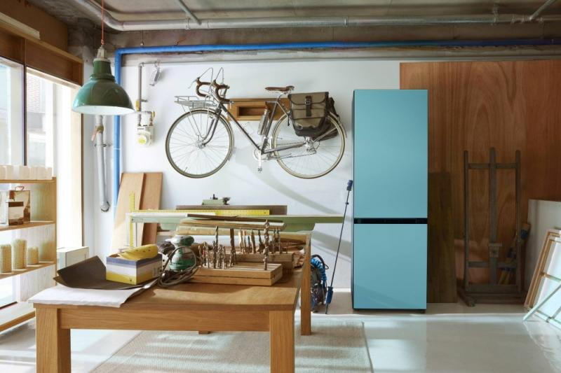 Samsung Home Appliances Prism Program BeSpoke Fridge workshop hanging bike