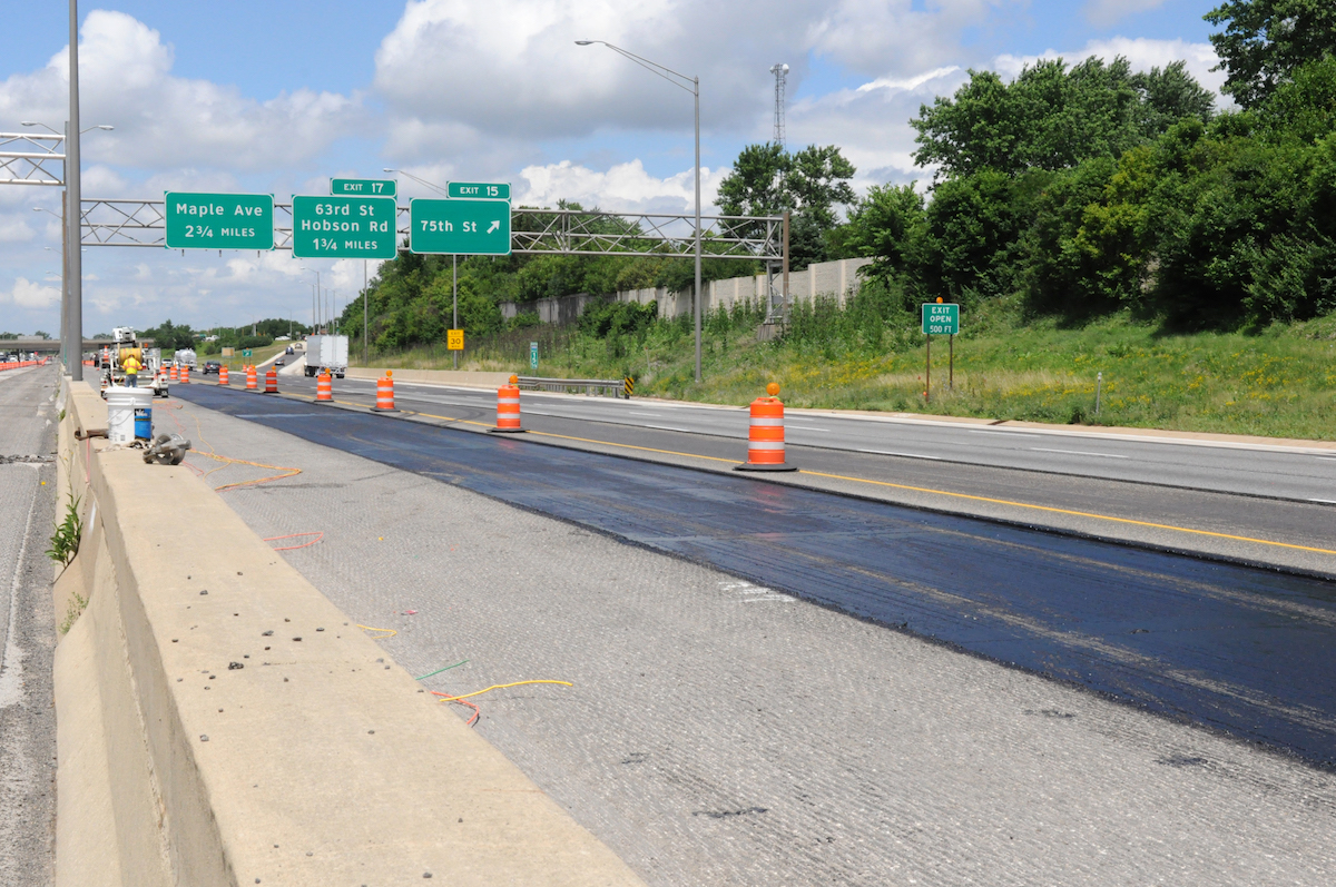 I-355 sandbox for asphalt paving Illinois Tollway