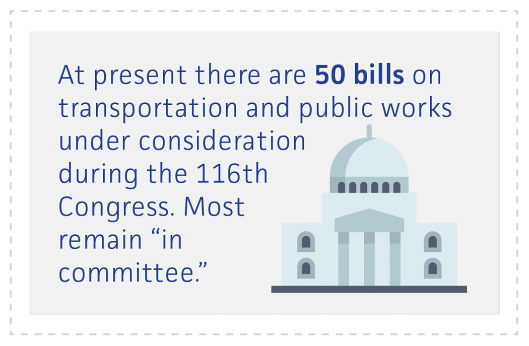 50 bills on transportation and public works in Congress