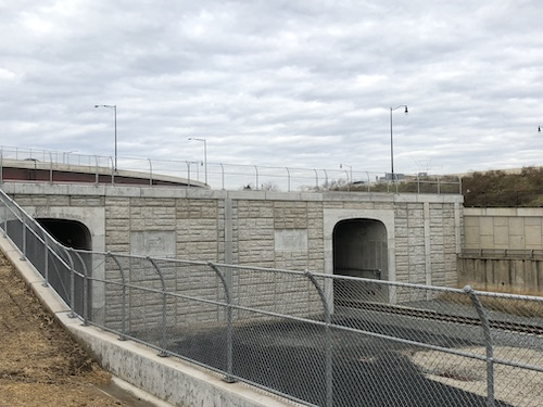 Virginia Avenue Tunnel's east portal shown with completed MSE wall facing.