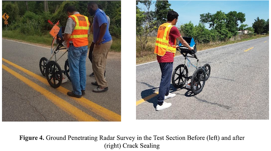 Figure 4. Ground Penetrating Radar Survey in the Test Section Before (left) and after (right) Crack Sealing
