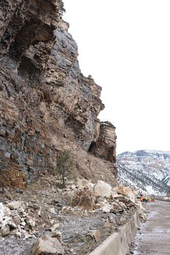 large rockslide fell onto I-70 in Glenwood Canyon in Colorado