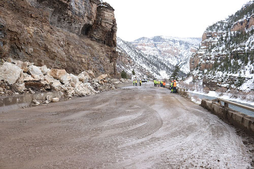 February rockslide involved removing much of the debris from the roadway