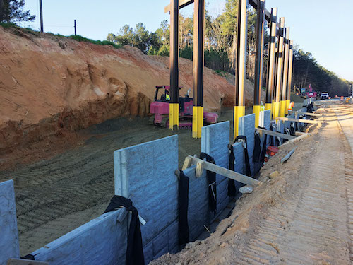 I-85 Spout Springs MSE wall construction