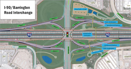 The addition of dedicated bus service on I-90 near Chicago ... on map of i 290 chicago, map of interstate 88 chicago, map of interstate 94 chicago, map of i 55 chicago,