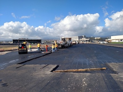Taxilanes G and L airport asphalt paving