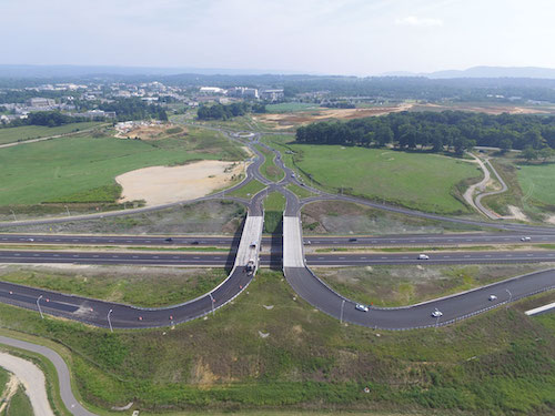The DDI on the Route 460 Southgate Connector project is the fourth of its kind in Virginia