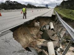 Damaged I-4 Florida after Hurricane Irma